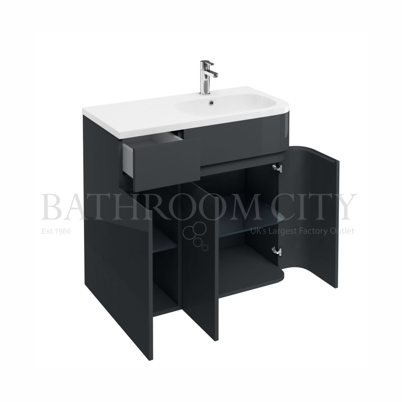 900mm Arc Cabinet Right,Anthracite grey and basin