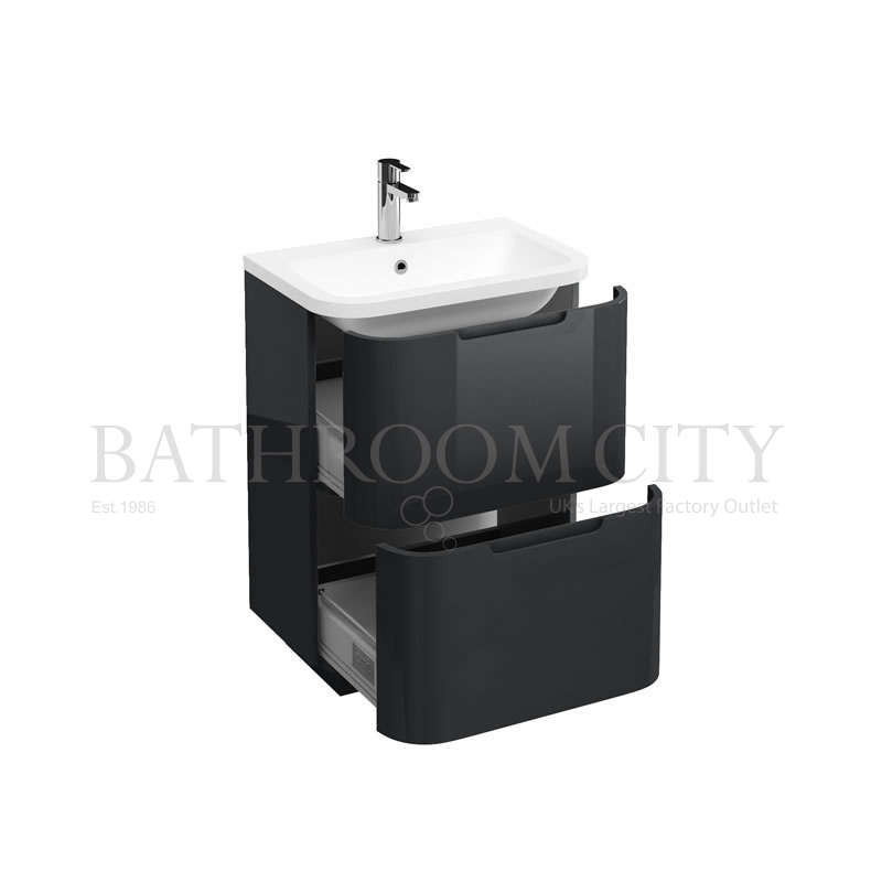 Compact 600 two drawer floor standing vanity unit ,Anthracite grey and basin