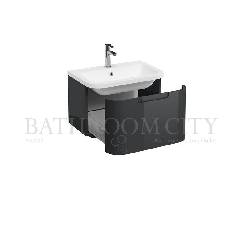 Compact 600 single drawer wall hung vanity unit ,Anthracite grey and basin
