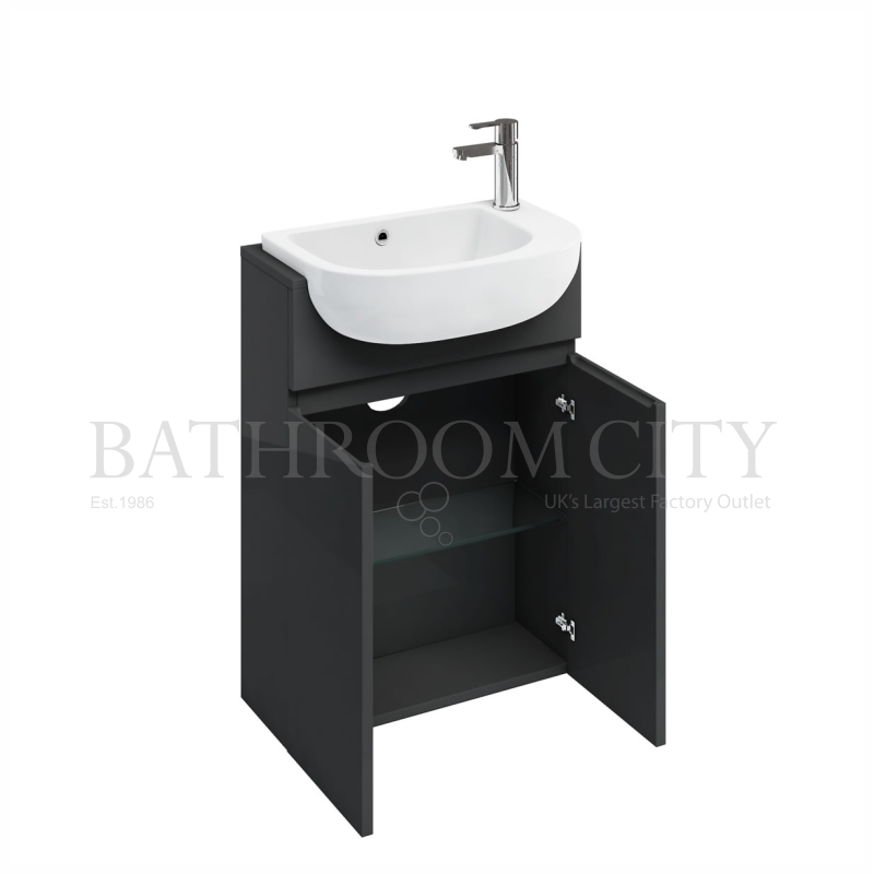 Compact 600mm semi-recessed basin unit, anthracite grey and basin