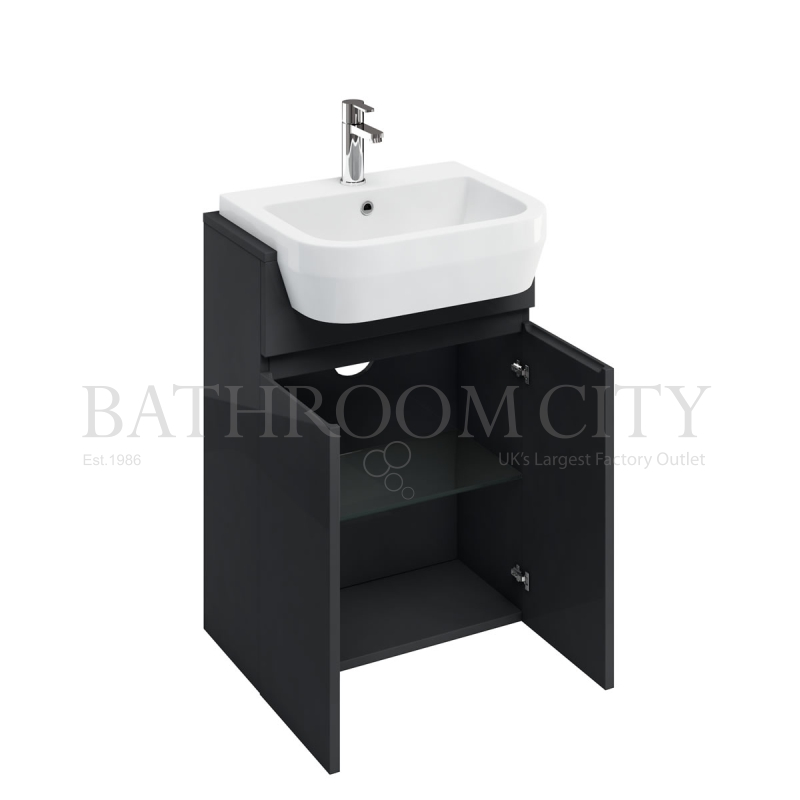 600mm Semi-recessed basin unit,Anthracite grey and basin