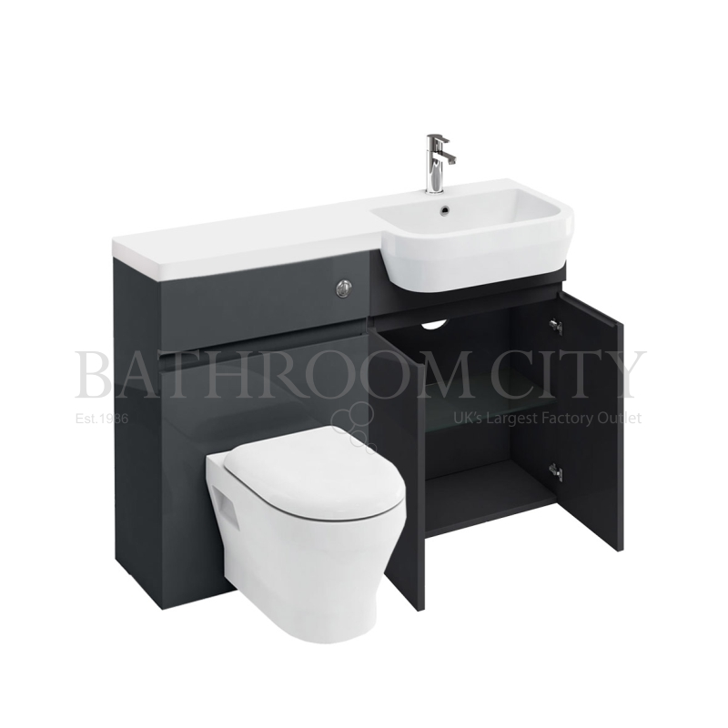 D30 Right Hand hand Combination 1200 Vanity unit with Push button toilet unit 1200 Quatrocast basin anthracite