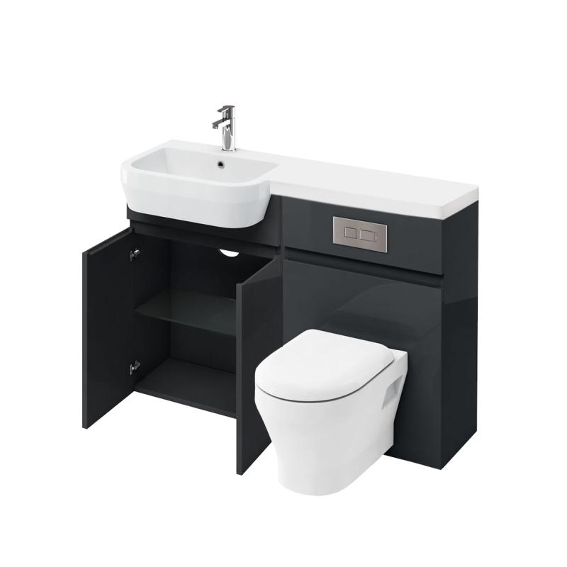 D30 left hand Combination 1200 Vanity unit with Flush Plate toilet unit 1200 Quatrocast basin anthracite