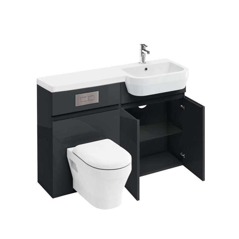 D30 Right Hand hand Combination 1200 Vanity unit with Flush Platetoilet unit 1200 Quatrocast basin, anthracite