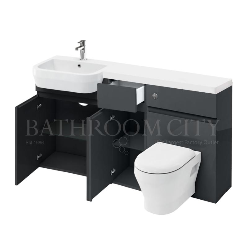 D30 left hand Combination 1500 Vanity unit with Push button toilet unit 1500 Quatrocast basin