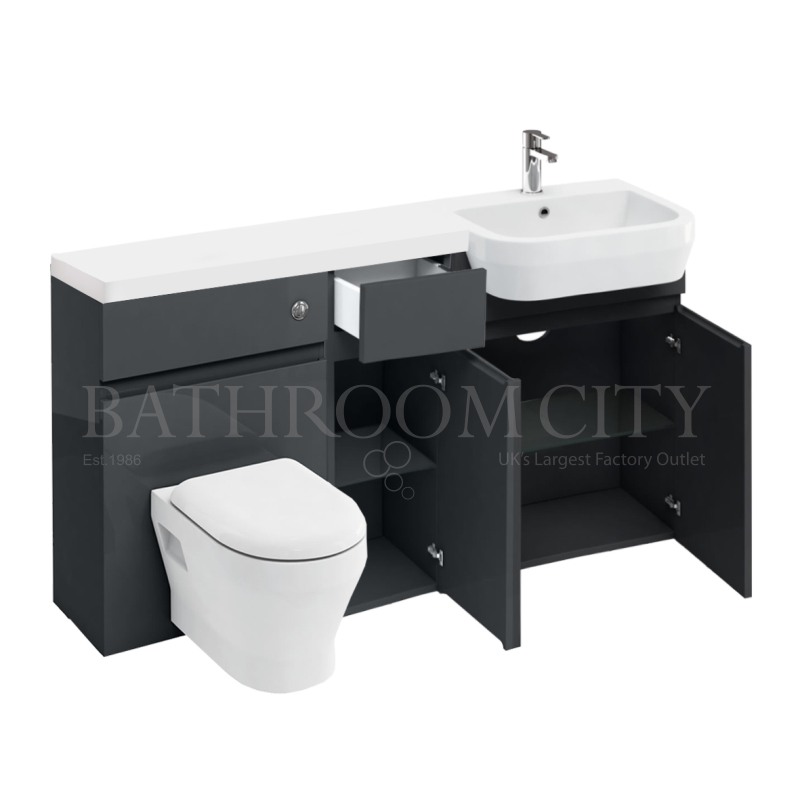 D30 Right Hand hand Combination 1500 Vanity unit Anthracite with Push button toilet unit 1500 Quatrocast basin