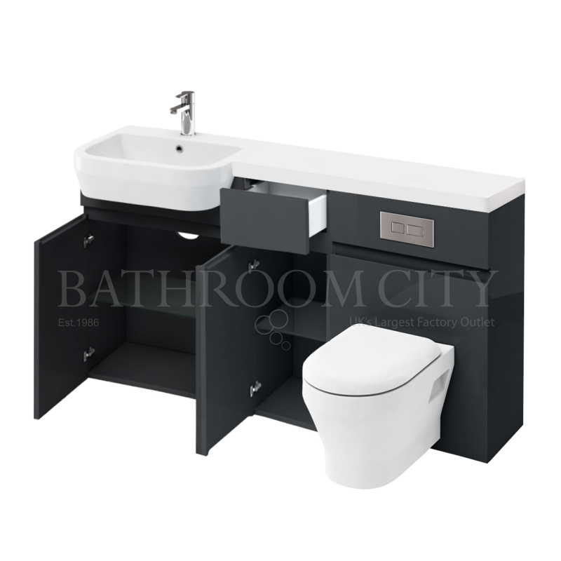 D30 left hand Combination 1500 Vanity unit Anthracite with Flush Plate toilet unit 1500 Quatrocast basin