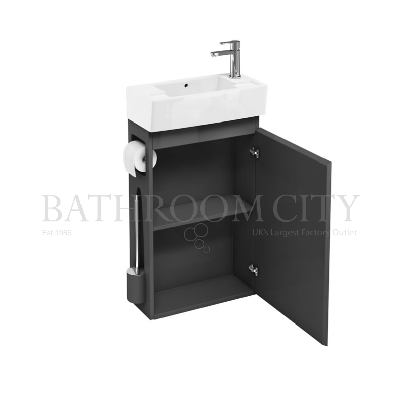 All-in-One floor-standing unit Anthracite and  right hand cloakroom basin