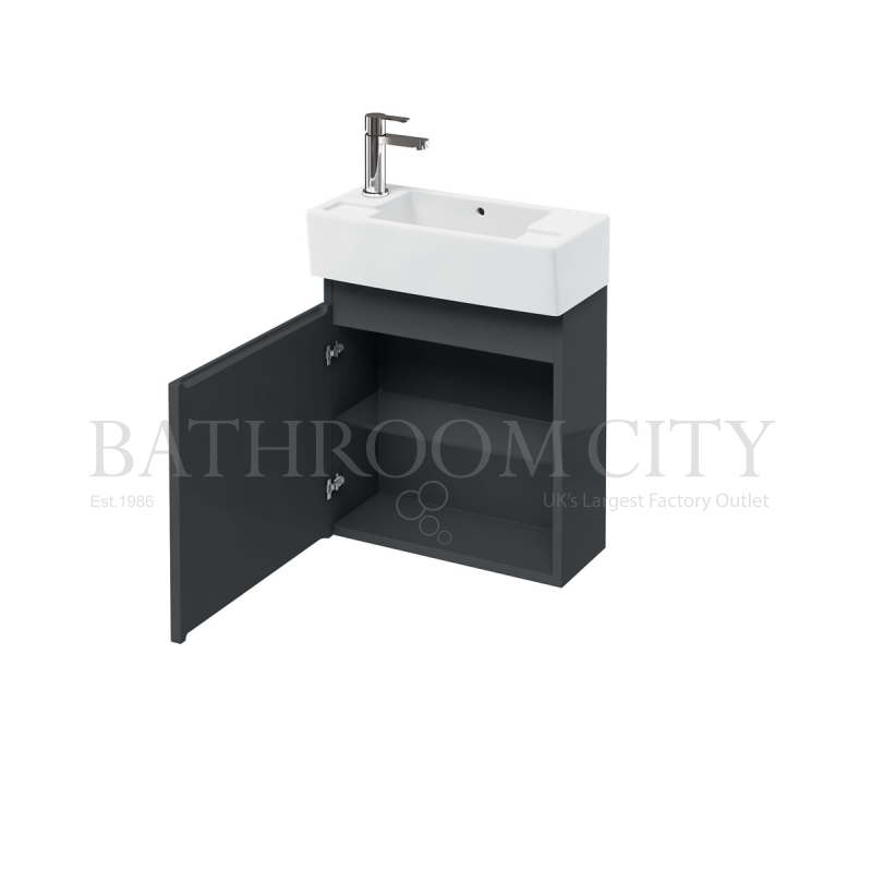 Compact 250 wall Anthracite - hung unit and left hand cloakroom basin
