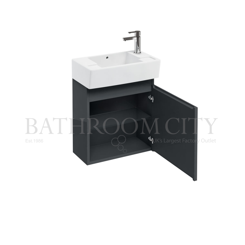 Compact 305 floor-standing unit Anthracite and Right Hand cloakroom basin