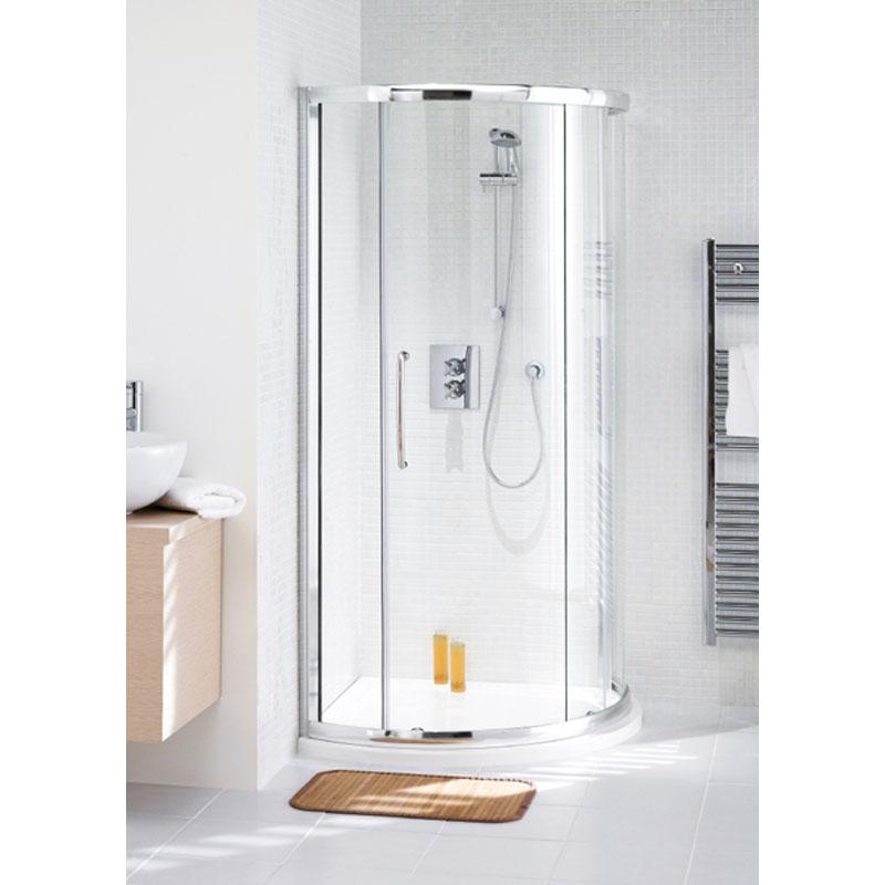 Shower Cubicle White Semi Framed Curved Corner Slider 900