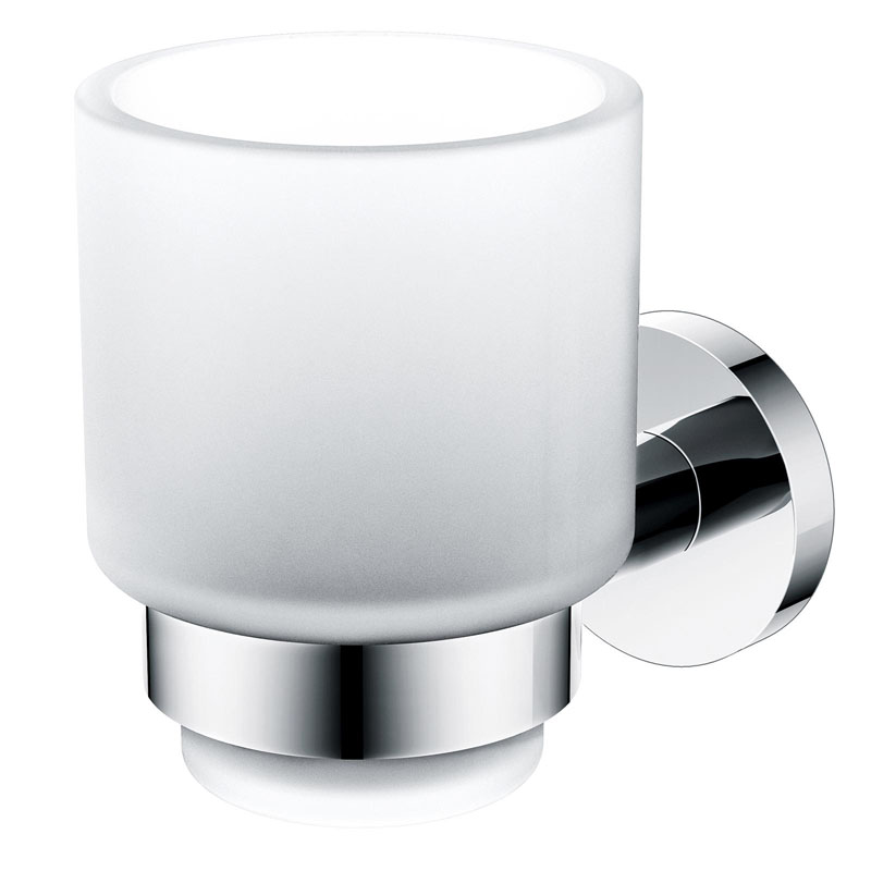 ADACINA Tumbler Holder and Cup Brass and Frosted Glass