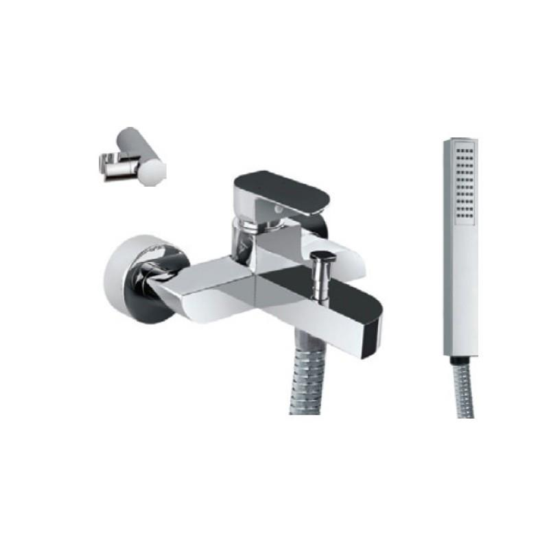 Alive Single Lever Bath & Shower Mixer (Wall Mounted) with Hand Shower, Plastic Coated Shower Hose and Wall Bracket (85119, 35537, 571 & 555)