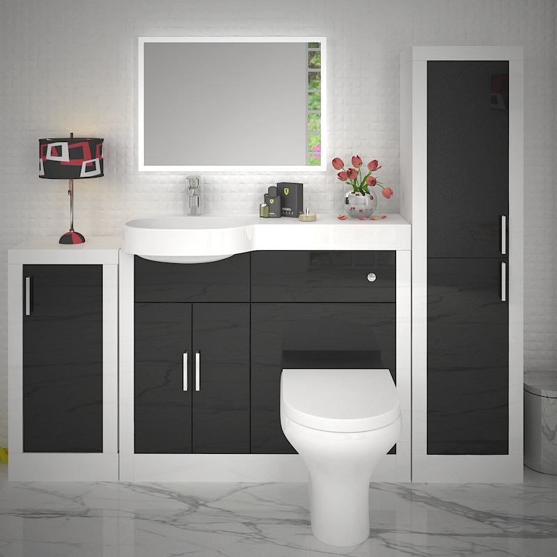 Apollo Bathroom Fitted Furniture Set Black Buy Online At Bathroom City
