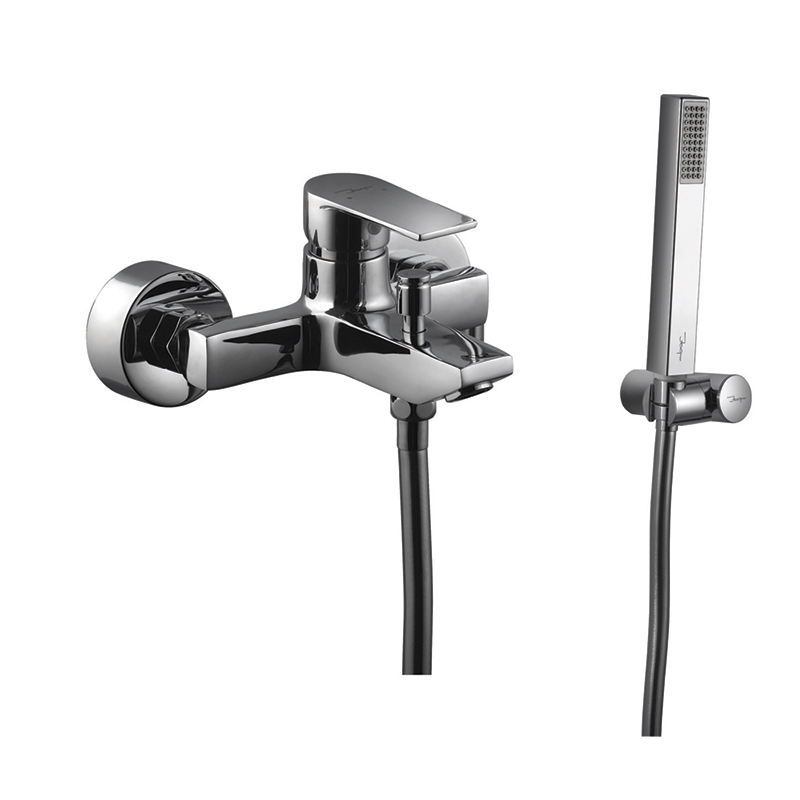 Aria Single Lever Bath & Shower Mixer (Wall Mounted) with Hand Shower, Plastic Coated Shower Hose and Wall Bracket (39119, 35537, 571 & 555)
