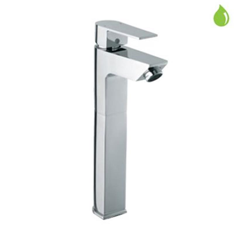 Aria Single Lever High Neck Basin Mixer (150mm Extension Body) Without Popup Waste, with 600mm Long Braided Hoses, HP 1.0