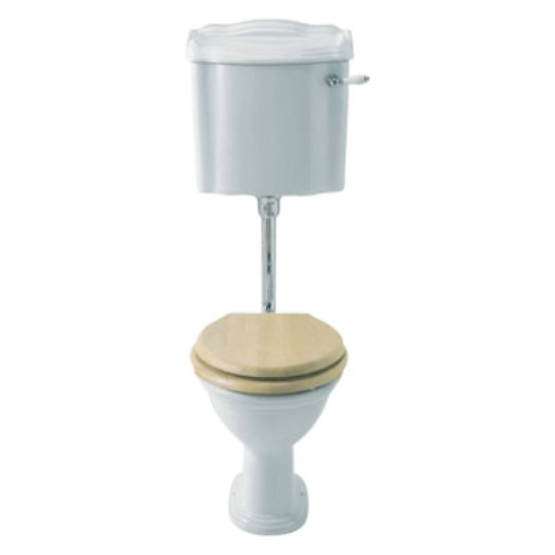 Balmoral Low Level Toilet with Cistern, Flush Pipe Kit and Cistern Lever & Mahogany seat