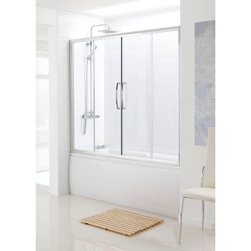 BATHSCREEN SILVER OVER BATH SLIDING DOOR 1500