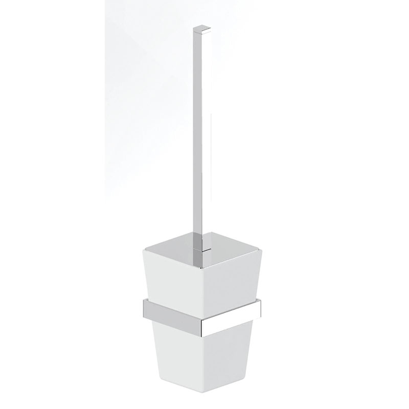 BETINA Toilet Brush Holder Brass and Frosted Glass