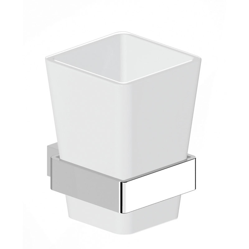 BETINA Tumbler Holder and Cup Brass and Frosted Glass