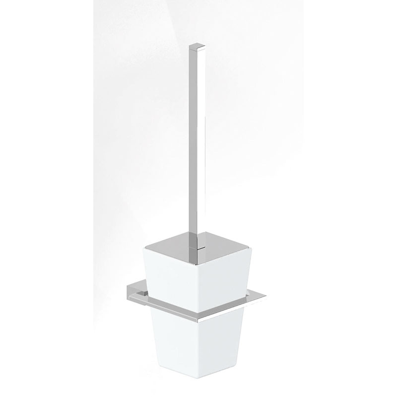 CADENZA Toilet Brush Holder Brass and Frosted Glass