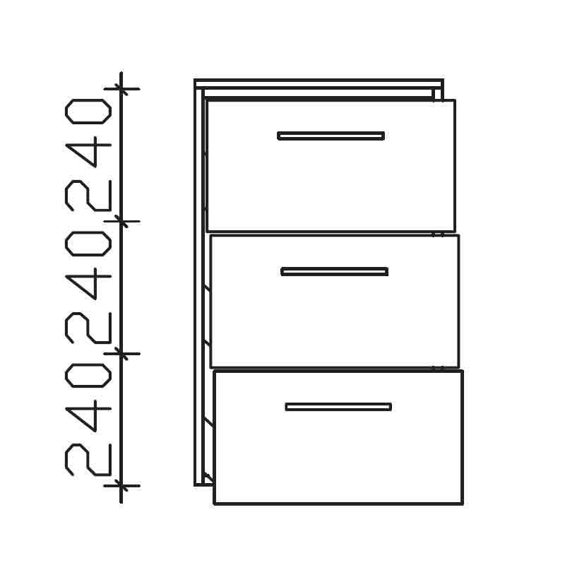 Cassca 3 draw Bathroom Storage unit