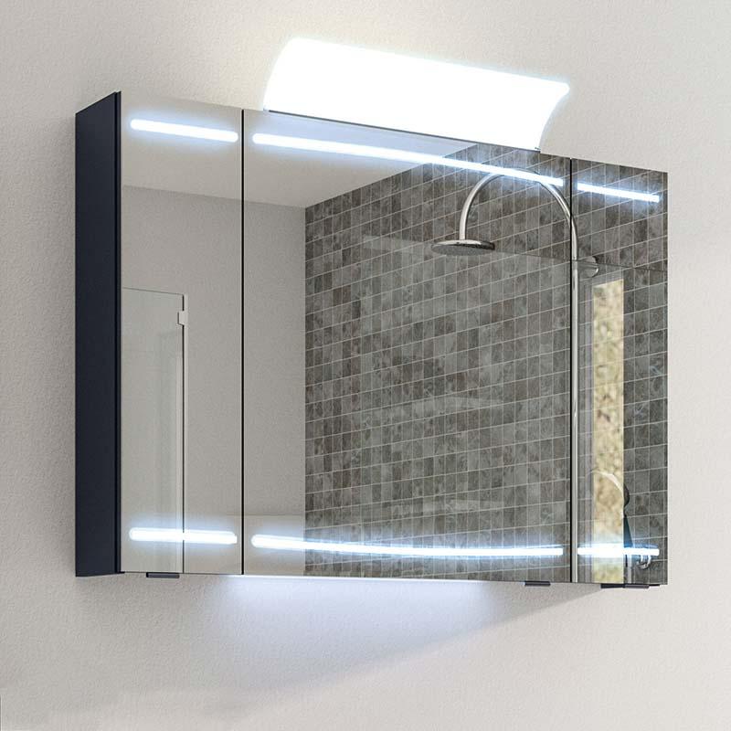 Cassca Mirror Cabinet Led 3 Door, Light Up Bathroom Mirror Cupboard