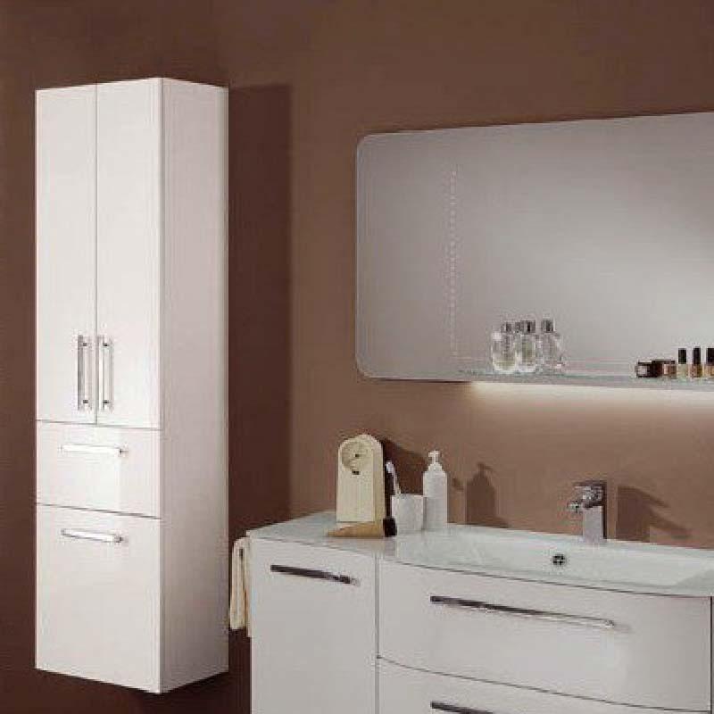 Contea Tall Boy Bathroom storage cupboard 2 door 1 draw and Laundry Bin