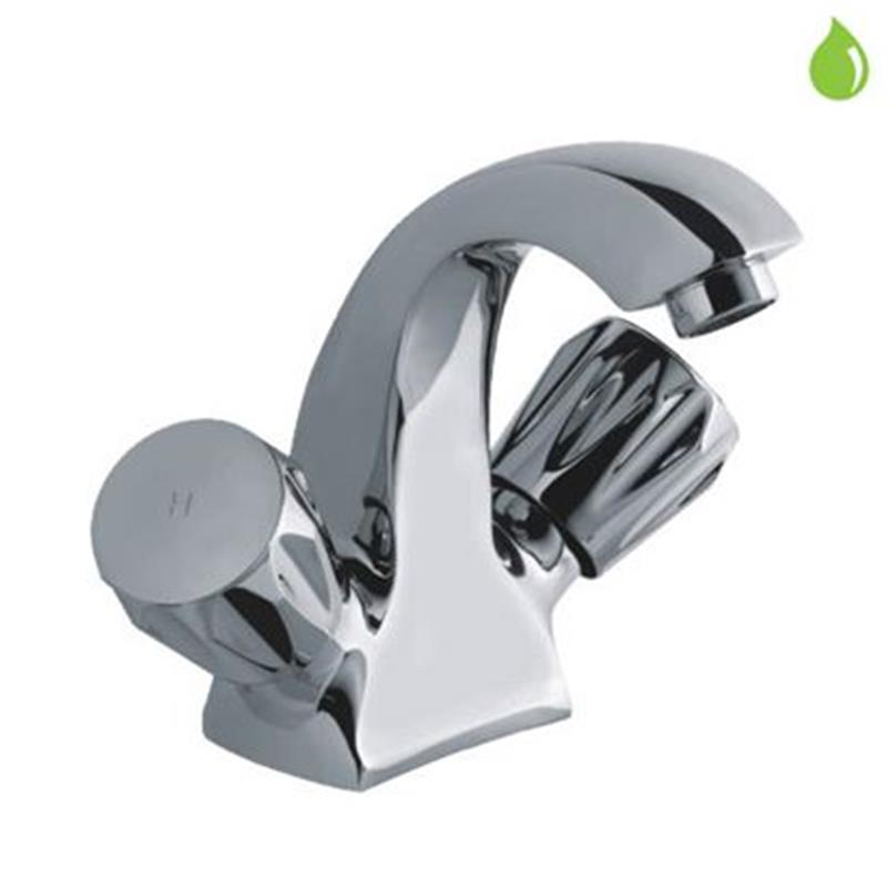 continental Monoblock Basin Mixer without popup waste & 375mm Long Braided Hoses, LP 0.3