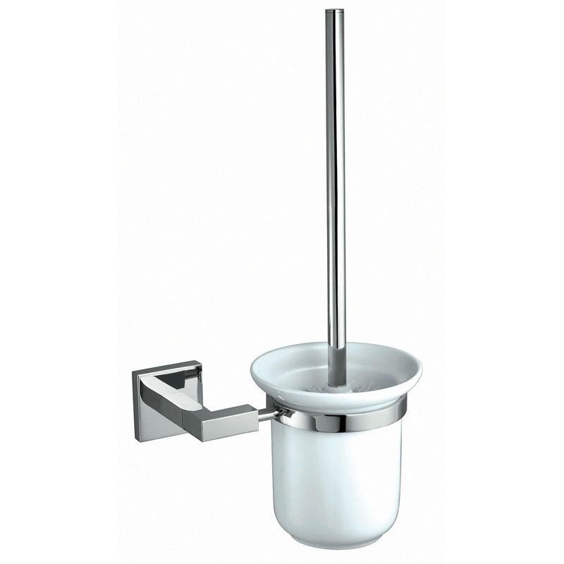 COURTNIE Toilet Brush Holder Brass and Frosted Glass