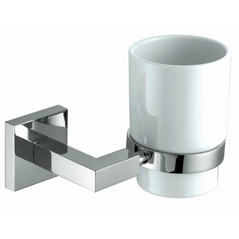 COURTNIE Tumbler Holder and Cup Brass and Frosted Glass
