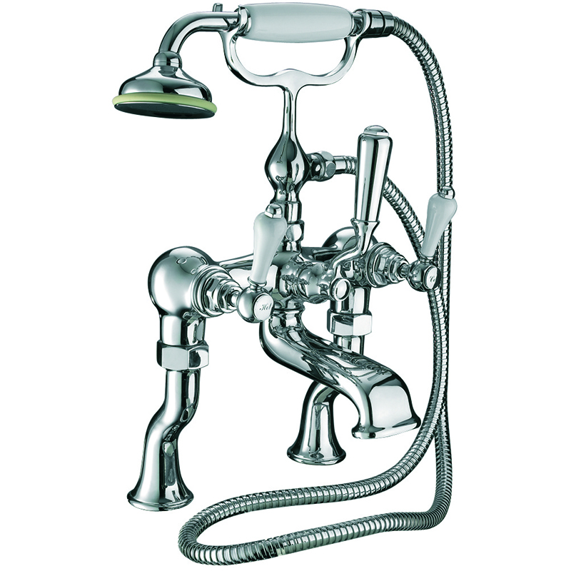 Crown Lever Bath Shower Mixer, Deck Mounted Chrome