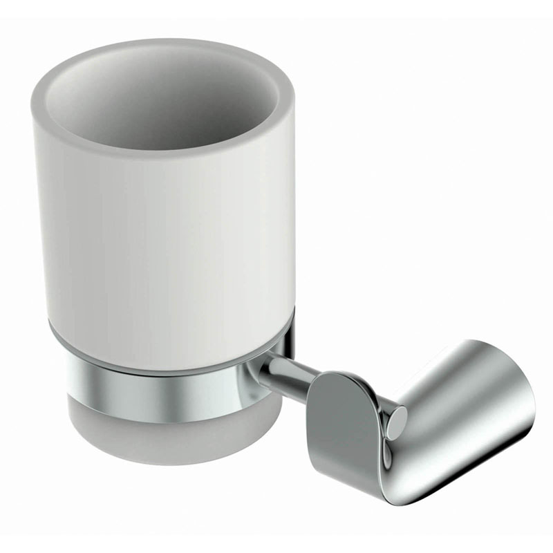 DAIGNA Tumbler Holder and Cup Brass and Frosted Glass