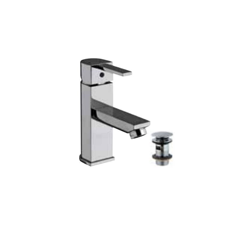 Darc Single Lever Basin Mixer with 375mm Long Braided Hoses & Click Clack Basin Waste, Slotted (ALD-729), HP 1.0