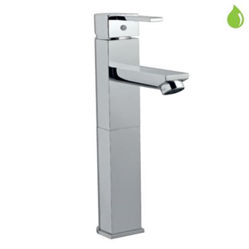Darc Single Lever High Neck Basin Mixer (140mm Extension Body) Without Popup Waste, with 600mm Long Braided Hoses, HP 1.0