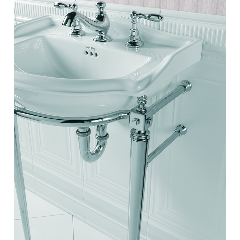 Drift Small Basin 1TH 540mm Black with Drift Cloak Basin Stand with Towel Rail Polished Nickel