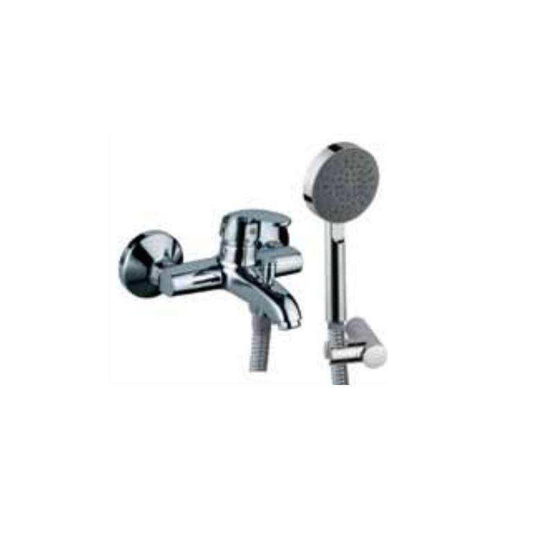 Eko Single Lever Bath & Shower Mixer (Wall Mounted) with Hand Shower, Plastic Coated Shower Hose and Wall Bracket (33119, 1937, 571 & 555)
