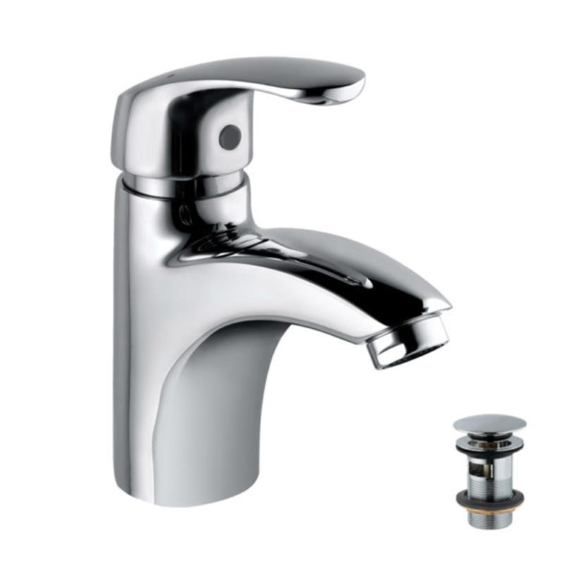Eko Single Lever Extended Basin Mixer (Height-83mm) with 375mm Long Braided Hoses & Click Clack Basin Waste, Slotted (ALD-729), HP 1.0