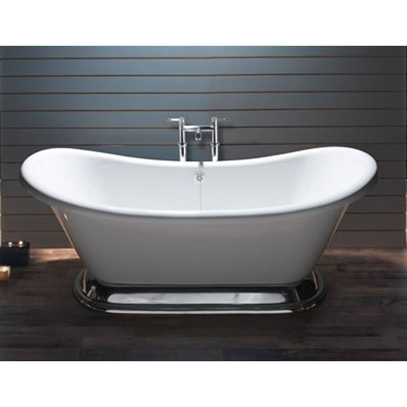 Excelsior White Acrylic Bath with Small Polished Plinth