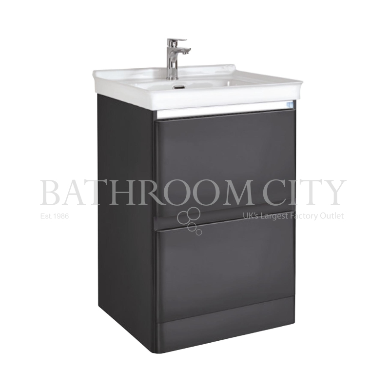 Fonte 60 Floor Standing Unit And Basin Gloss Graphite