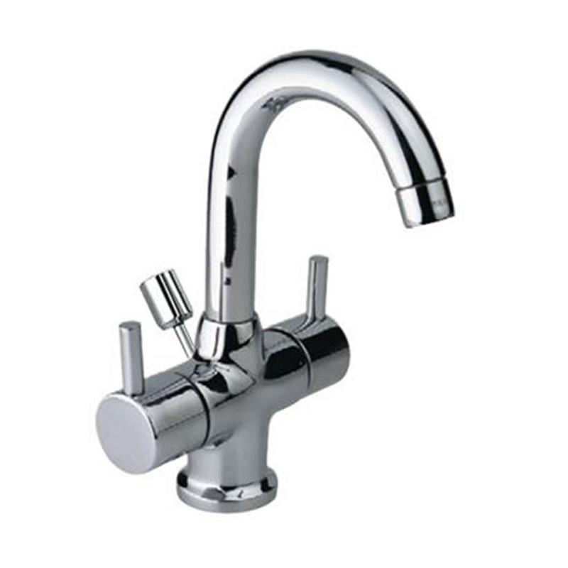 Florentine Monoblock Basin Mixer with popup waste & 375mm Long Braided Hoses, LP 0.3