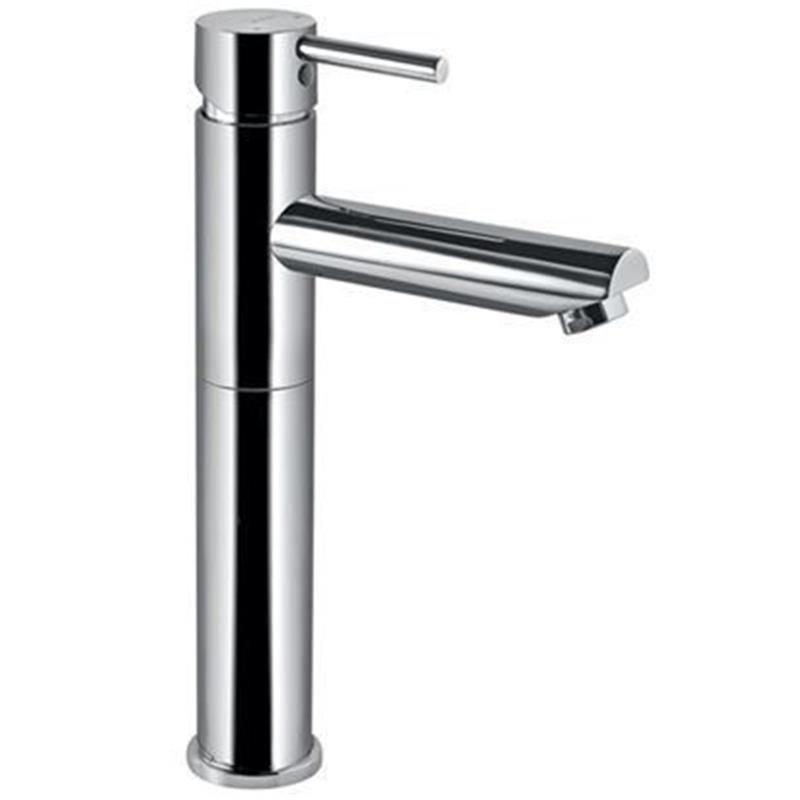 Florentine Single Lever High Neck Basin Mixer (150mm Extension Body)Without Popup Waste, with 600mm Long Braided Hoses, HP 1.0