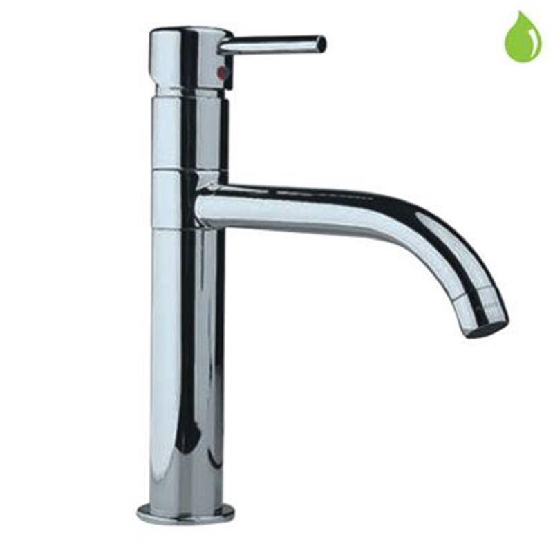 Florentine Single Lever High Neck Basin Mixer (210mm Extension Body) with Swivel Spout & 600mm Long Braided Hoses, HP 1.0