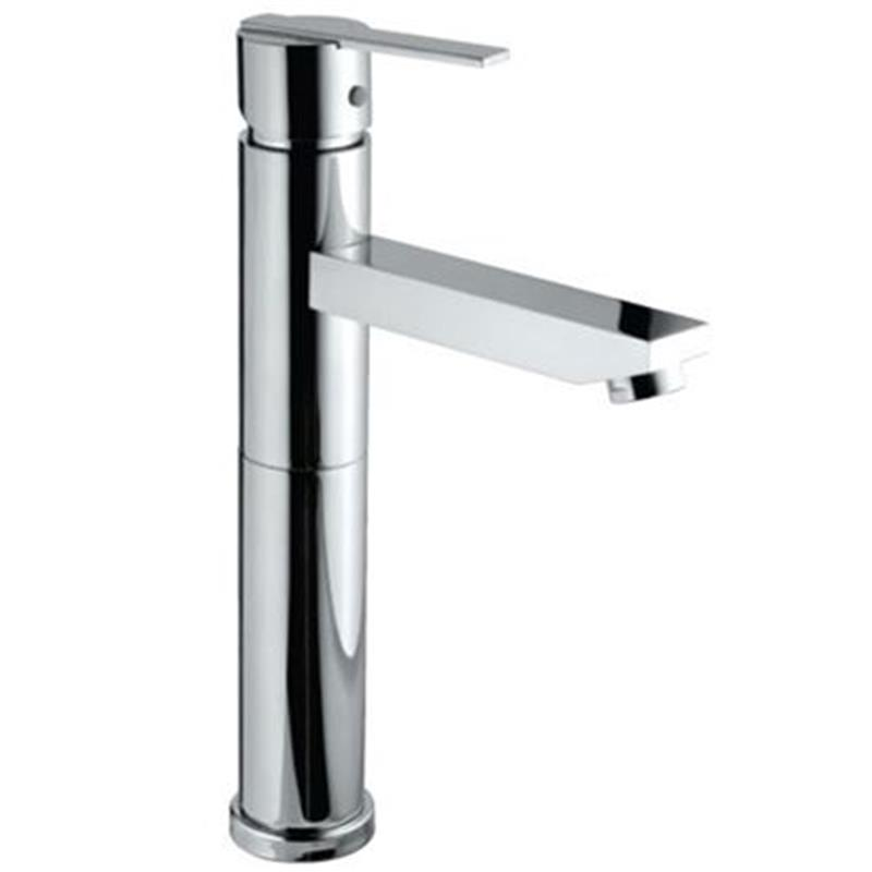 Fonte Single Lever High Neck Basin Mixer (150mm Extension Body) without Popup Waste, with 600mm Long Braided Hoses, HP 1.0