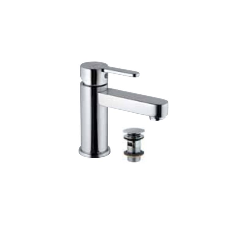 Fusion Single Lever Extended Basin Mixer (Height-95mm) with 375mm Long Braided Hoses & Click Clack Basin Waste, Slotted (ALD-729), HP 1.0