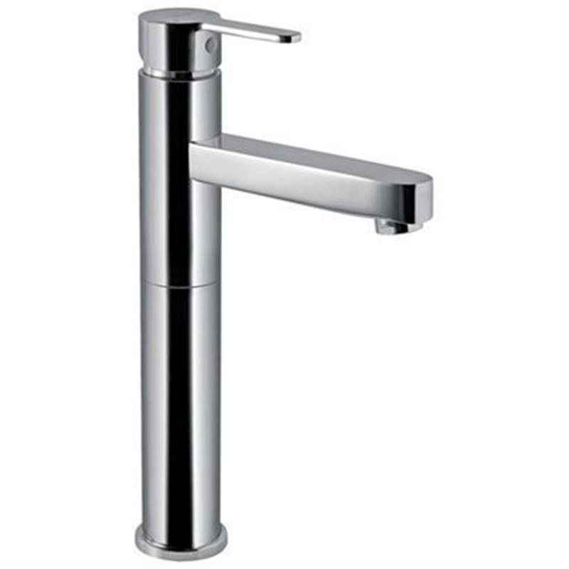 Fusion Single Lever High Neck Basin Mixer (150mm Extension Body)without Popup Waste, with 600mm Long Braided Hoses