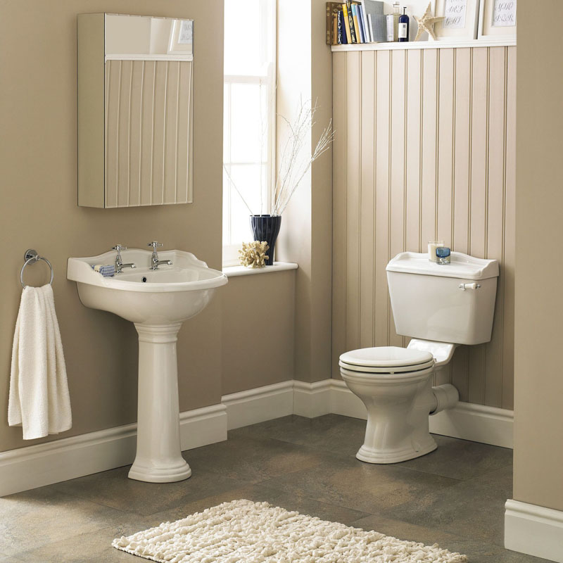 Juliet traditional suite Close Couple Toilet with soft close seat Porcelain lever Basin and Pedestal