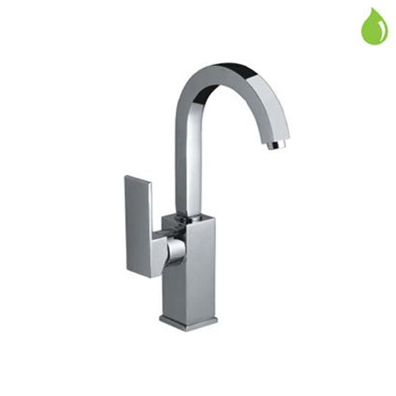 Kubix Side Single Lever Mono Sink Mixer with Swivel Spout & 375mm Long Braided Hoses, HP 1.0