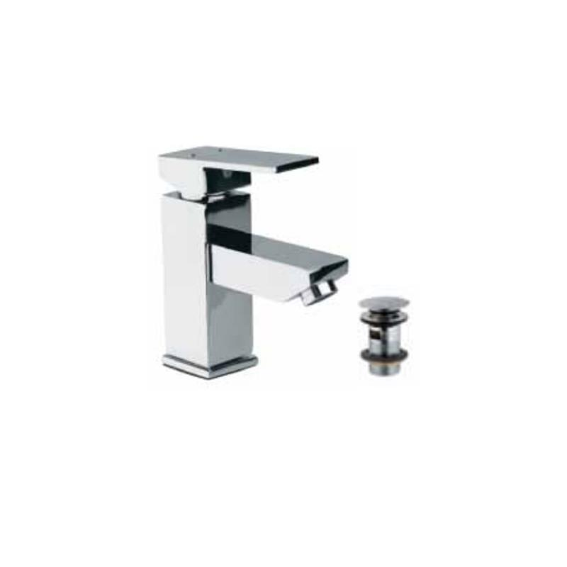 Kubix Single Lever Basin Mixer with 375mm Long Braided Hoses & Click Clack Basin Waste, Slotted (ALD-729), HP 1.0