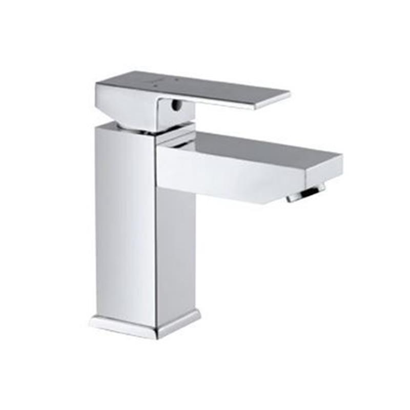 Kubix Single Lever Basin Mixer without Popup Waste, with 375mm Long Braided Hoses, HP 1.0